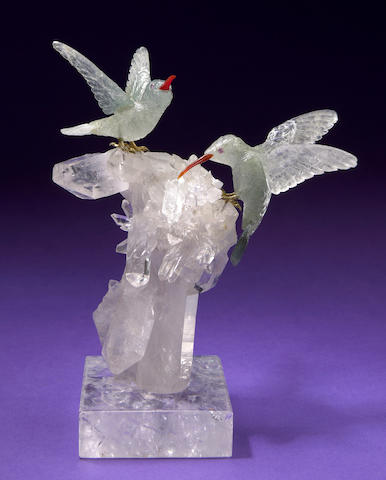 Pair of Achroite Tourmaline Hummingbirdes on rock crystal base