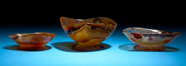 Suite of Three Agate Bowls