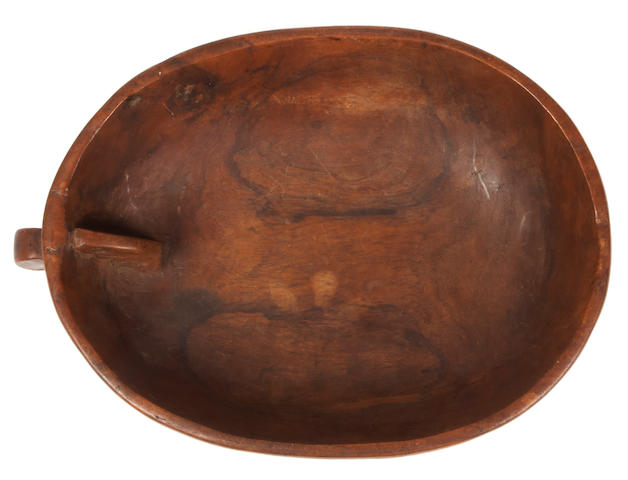 A finger bowl washbasin, ipu holoi lima, Hawaiian Islands,<br>with label: John M. Warriner Hawaiian Collection