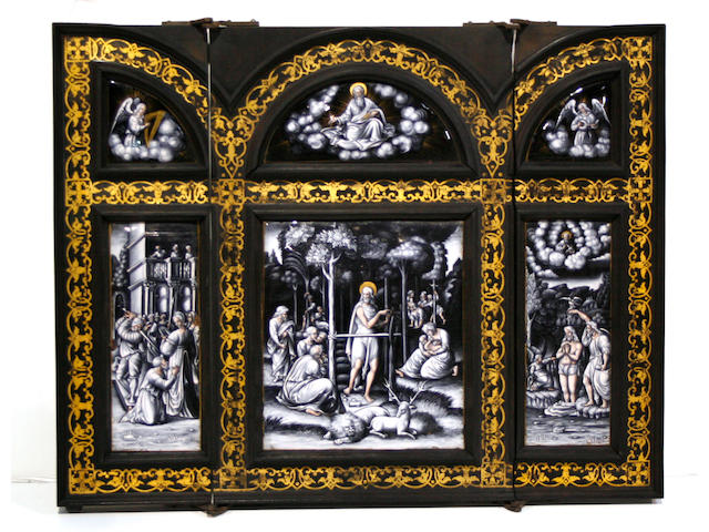 A Limoges enamel triptych   second half 19th century
