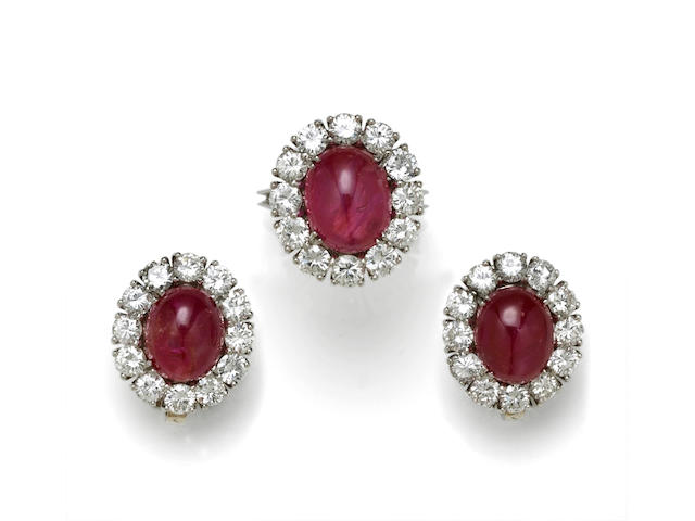 A collection of ruby and diamond jewelry