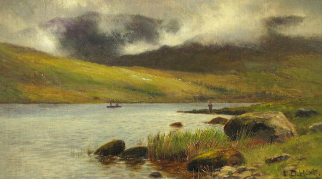 (n/a) Louis Bosworth Hurt (British, 1856-1929) Llyn Quellyn and Snowdon 4 3/4 x 8 3/4in