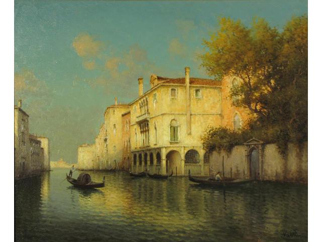 (n/a) Vallin  (Hugo Golli) (Italian, b.1921) A Venetian canal scene 21 1/2 x 25 3/4in