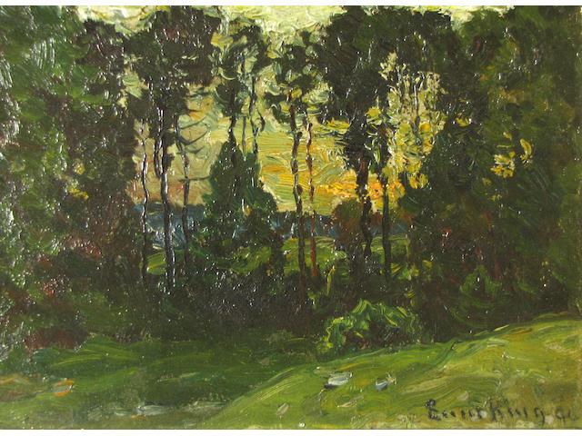 (n/a) John Joseph Enneking (American, 1841-1916) Summer sunset, Williamstown, Massachusetts, 1894 5 x 7in