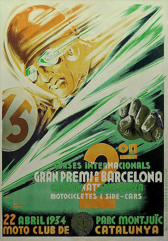 A poster for the Barcelona Grand Prix, Spanish, 1934,