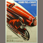 A rare poster for the Grand Prix d'Europe, Bern, Switzerland, 1948,