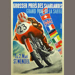 A handbill for the Grand Prix Saarlandes, 1954,