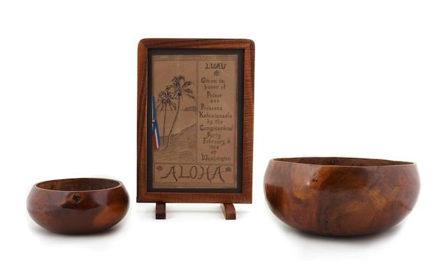 Two wood Bowls, pakaka, together with an original 1908 Congressional Luau menu, Hawaiian Islands