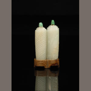 An unusual white nephrite jade scroll form double snuff bottle  19th Century