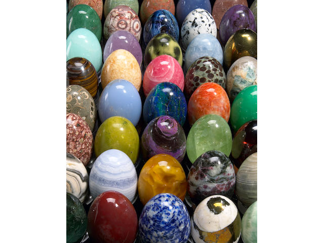 Collection of 850 Carved Mineral Eggs