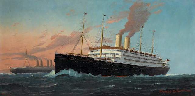 """(n/a) Fred Pansing (American, 1844-1912) The S.S. """"Kaiserin Auguste Victoria"""" 36 x 72 in. (91.4 x 182.8 cm.)"""