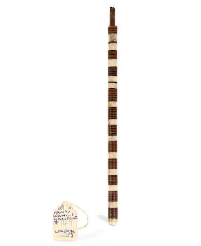 An ivory, shell and wood sceptre, kahili handle, ki, Hawaiian Islands