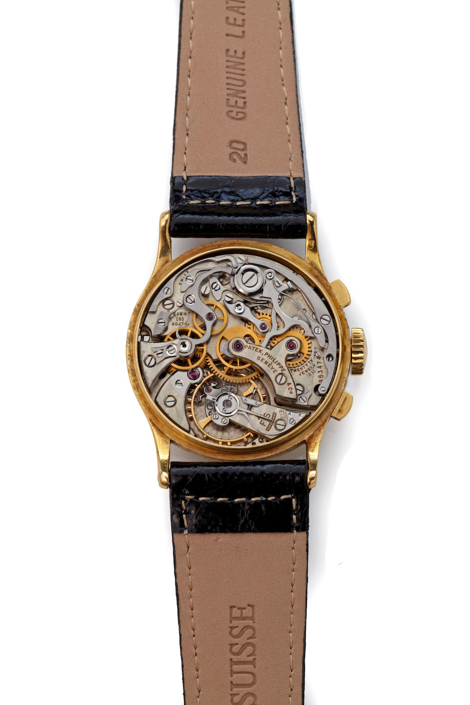 Patek Philippe. A fine 18K gold wrist chronograph with breguet numeralsRef. 130, movement No. 863474, case No. 638214, sold in 1945
