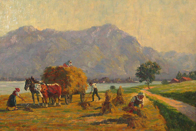 (n/a) A. Sachs Haying near the Chiemsee, Switzerland 10 1/2 x 15in