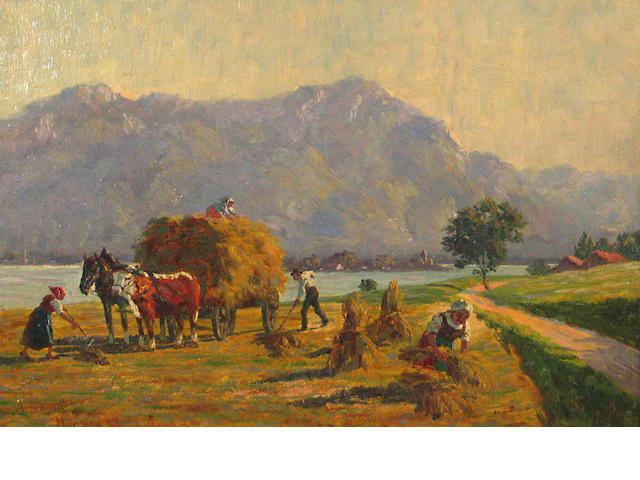 A. Sachs Haying near the Chiemsee, Switzerland 10 1/2 x 15in
