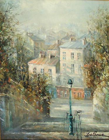 Lucien Delarue (French, born 1925) Rue du Calvaire, Montmartre 24 x 19 1/2in
