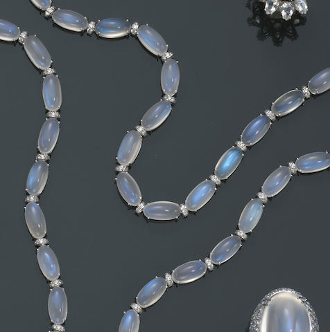 Moonstone and Diamond Longchain Necklace