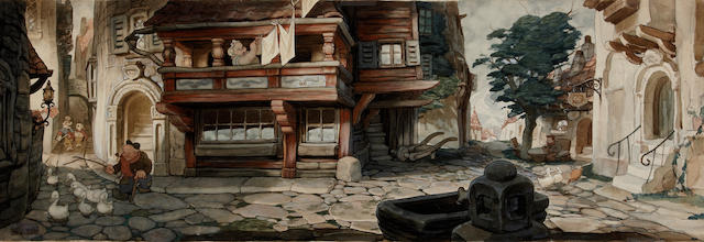 "Gustav Tenggren watercolor of a street scene from ""Pinocchio"""