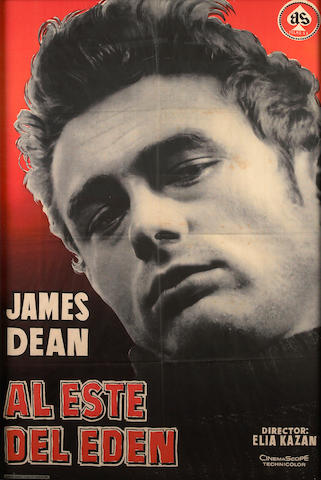 A framed James Dean poster