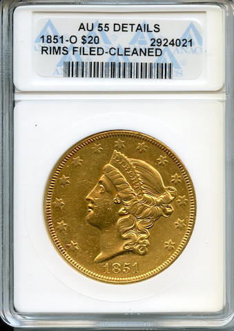 1851-O $20 Rims Filed-Cleaned AU55 Details ANACS Despite condtion issues, an affordable example with some luster adhering. 315,000 pieces only struck. (PCGS 8905)