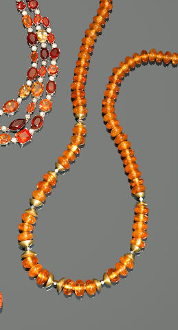 Mandarin Garnet Bead Necklace