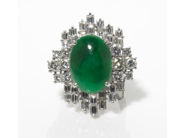 A jadeite jade and diamond ring