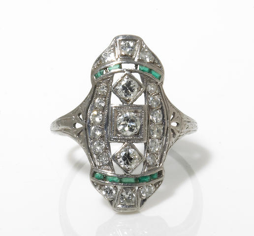 An art deco diamond and emerald ring,