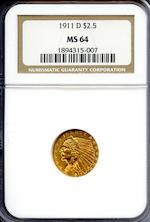 1911-D $2.5 MS64 NGC