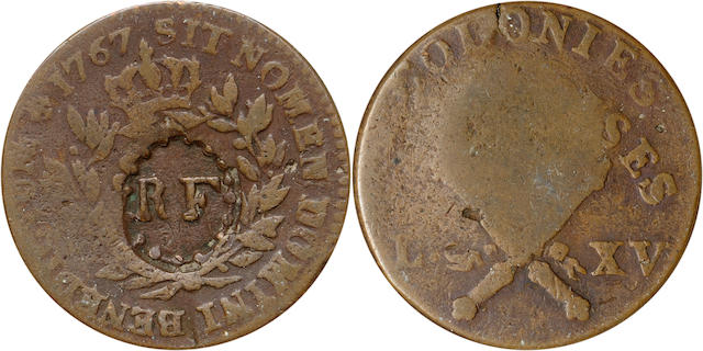 1767-A 12D FR Colonies Countermarked EF40 ANACS