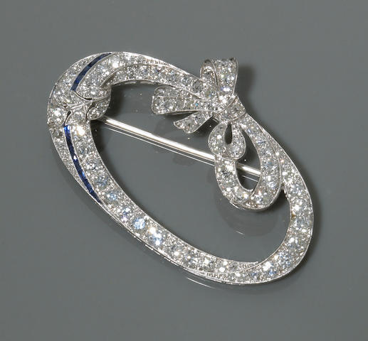 An art deco diamond and sapphire brooch, circa 1920