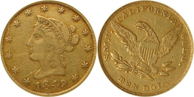 1849 Moffat & Co. $10 TEN DOL. XF40 ANACS