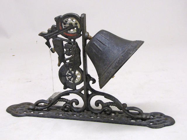 A cast iron 'Good Luck-Motorcycle' wall bell,
