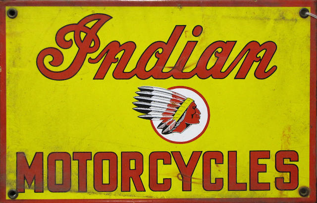 An Indian Motorcycles enamel sign,