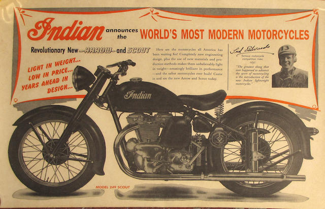 An Indian Arrow and Indian Scout advertising poster, circa 1950,