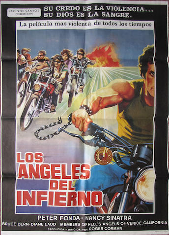 "A ""Los Angeles del Inferno"" motorcycle movie poster,"