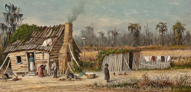William Aiken Walker (American, 1838-1921) Rural cabin 6 1/8 x 12 1/8in