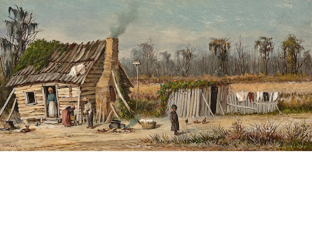 William Aiken Walker (American, 1838-1921) Rural cabin 6 1/8 x 12 1/8in