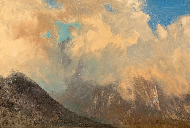 Albert  Bierstadt (German, 1830-1902) In the Tyrol 7 1/2 11 1/8in