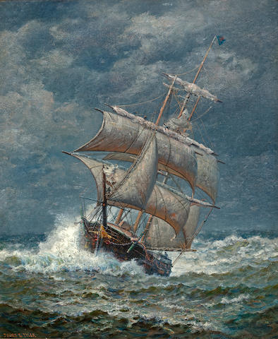 (n/a) James Gale Tyler (American, 1855-1931) Ship at sea 30 x 25 in. (76.2 x 63.5 cm.)