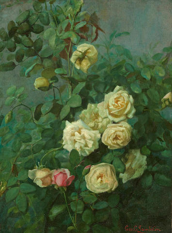 (n/a) George Cochran Lambdin (American, 1830-1896) The rose bush 24 x 17 3/4in