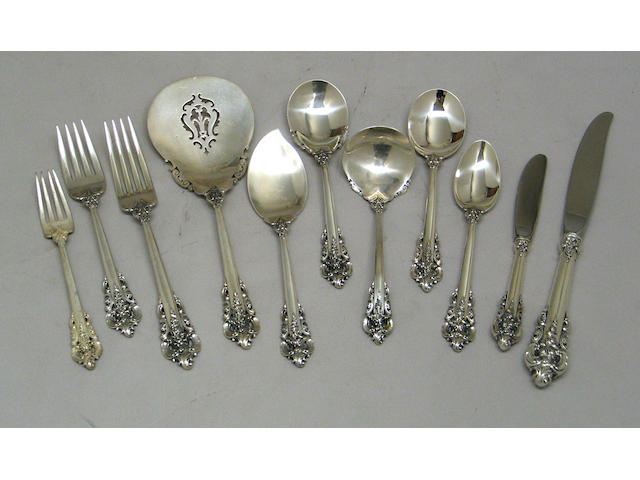 Sterling Grande Baroque Flatware Set by Wallace, with Case
