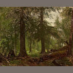 George Hetzel (American, 1826-1899) Forest interior 10 1/2 x 13 1/4in