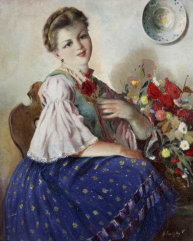 Köozegby (20th century) A young woman with a bouquet of flowers 28 x 21in