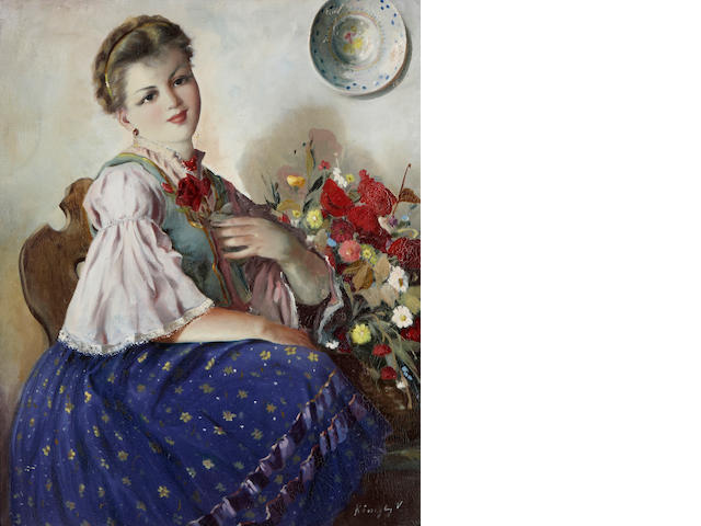 Köszeg (20th century) A young woman with a bouquet of flowers 28 x 21in