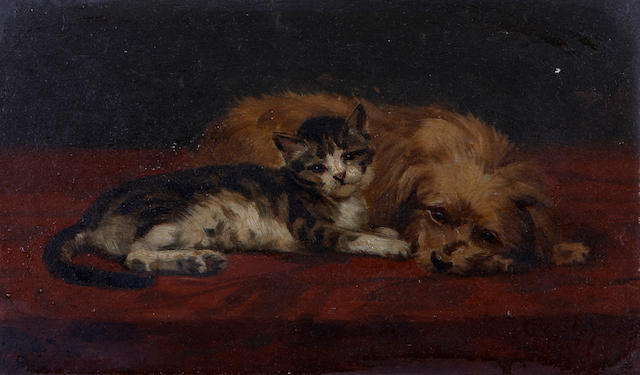 (n/a) John Henry Dolph (American, 1835-1903) A cat and dog on a carpet 4 1/8 x 9 1/4in