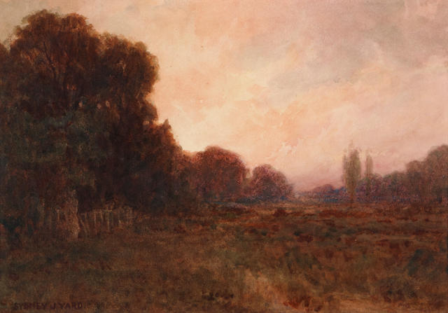 (n/a) Sydney Janis Yard (American, 1855-1909) Landscape at sunset 7 1/2 x 10 1/2in