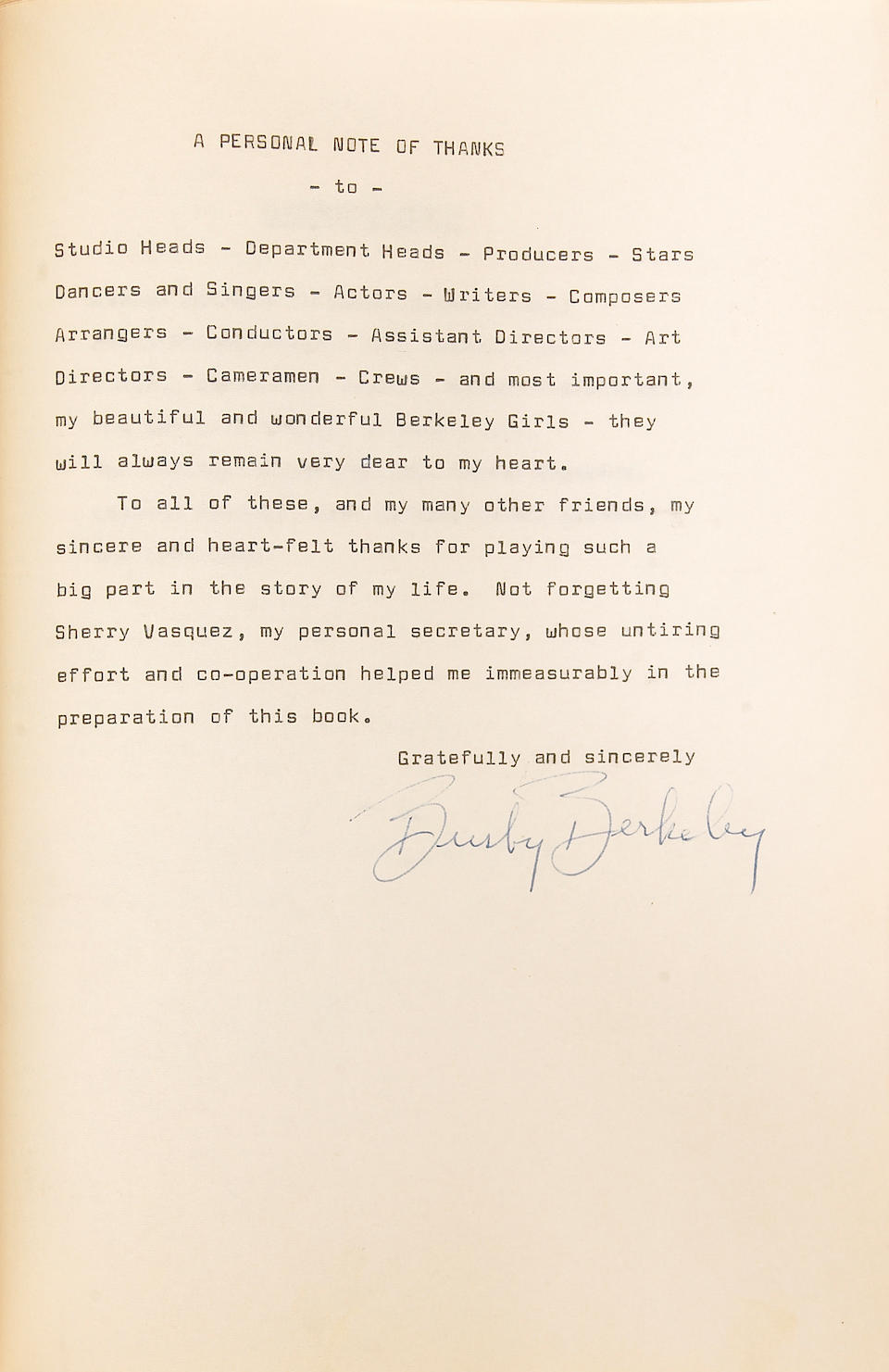 A Busby Berkeley typed copy of his autobiography Girls, Glamour and Glory, circa 1970