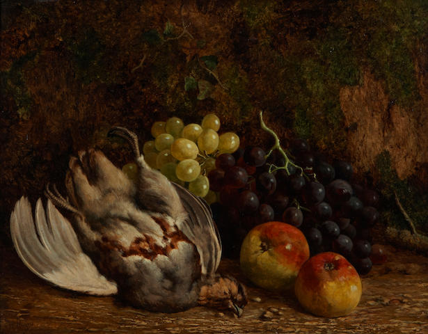 (n/a) William Hughes (British, 1842-1901) A still life with fruit and game 14 x 18in
