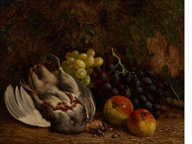 William Hughes (British, 1842-1901) A still life with fruit and game 14 x 18in
