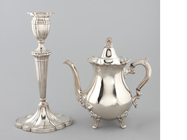 A group of plated silver table articles